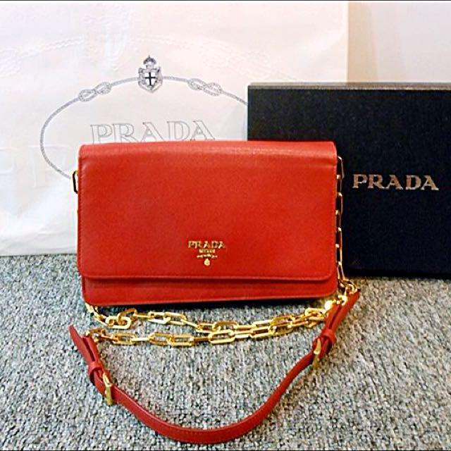 d762f701f14b official store prada saffiano metal chain wallet a9cd5 28bfa