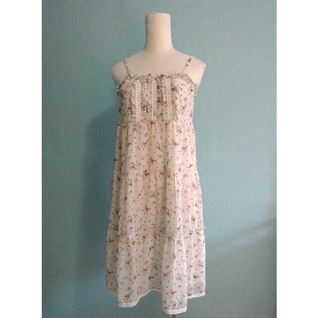 專櫃B CLUB可調式細肩帶小草莓碎花蛋糕洋裝