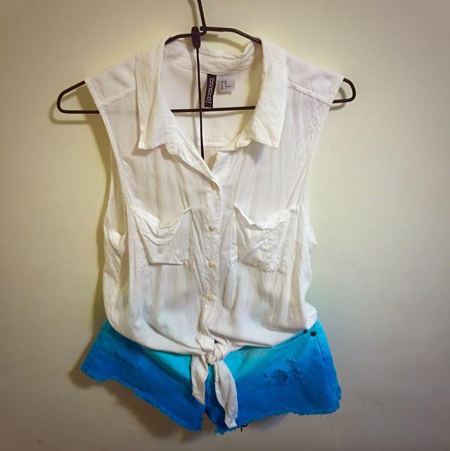 H&M 短版背心白色襯衫(下擺可綁)