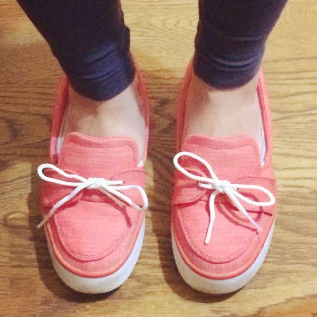 NIKE 珊瑚紅帆布鞋 size 22.5