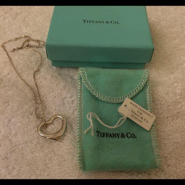 Tiffany 經典 Open Heart 中型愛心925純銀項鍊