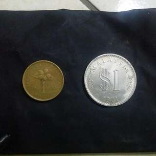 Genuine RM 1 Coins. Year 1993 And 1981