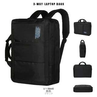 商務三用筆電包 側背包 手提包 後背包- 黑色