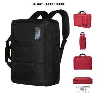 商務三用筆電包 側背包 手提包 後背包- 深粉色