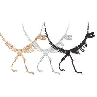 [IN STOCK] Geeky, Quirky, Unique Dinosaur Skeleton Bones Necklace [ Gold | Black ]