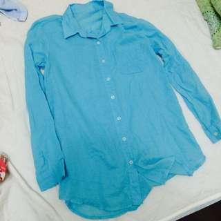 韓國帶回 長版薄襯衫 湖藍色 全新