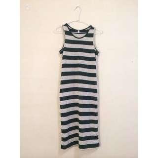 深綠色寬版條紋棉質挖背背心裙