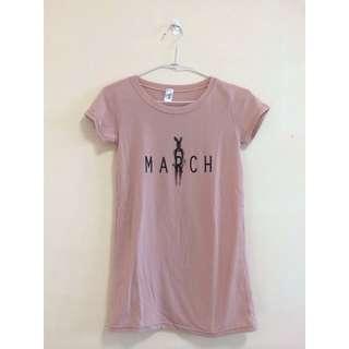 正韓裸粉色兔子圖案短袖上衣