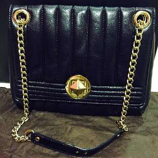 Kate Spade Evangeline Gold Coast Black Quilted Handbag