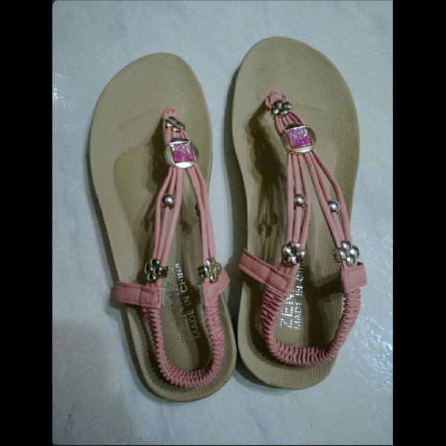 粉紅甜美夾腳涼鞋