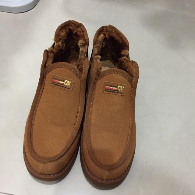 九成新 雪靴 中筒 男鞋 棕色 43號