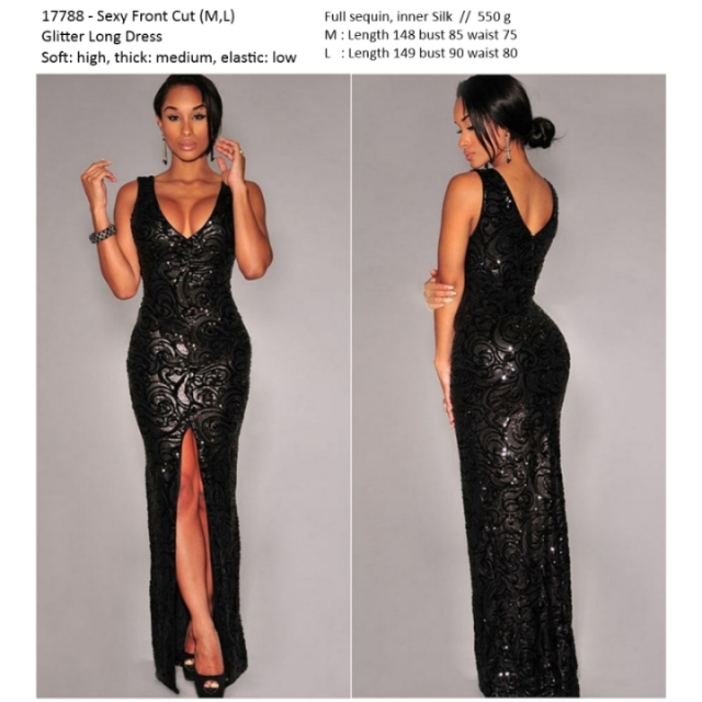 Long Dress Pesta Import Sequin Bangkok Korea Elegan Premium Women S