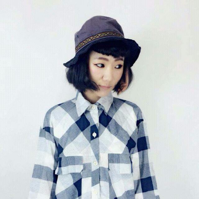Salamola 韓國 灰紫帽頂x黑帽簷x跳色圖騰滾邊 軟鐵絲漁夫帽