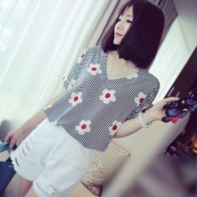 降價80☝V領小花條紋雪紡衣