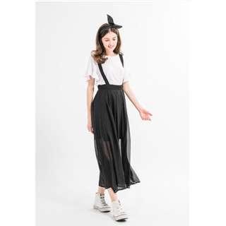 歐美雪紡吊帶長裙(黑)
