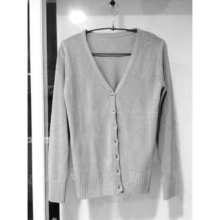 灰色優雅防曬針織小外套
