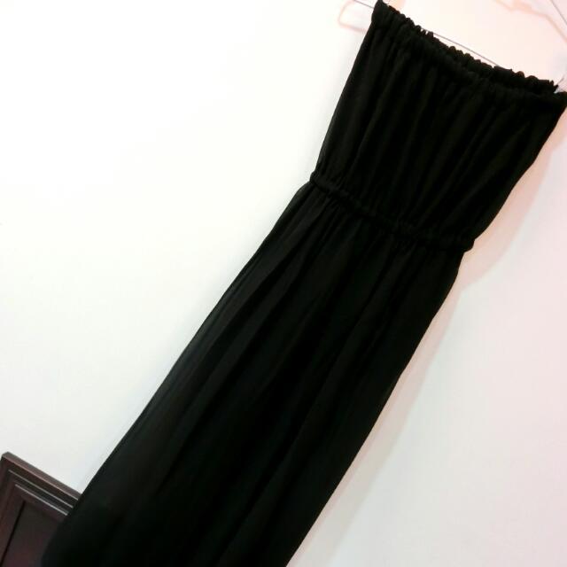 ::黑色平口長洋裝