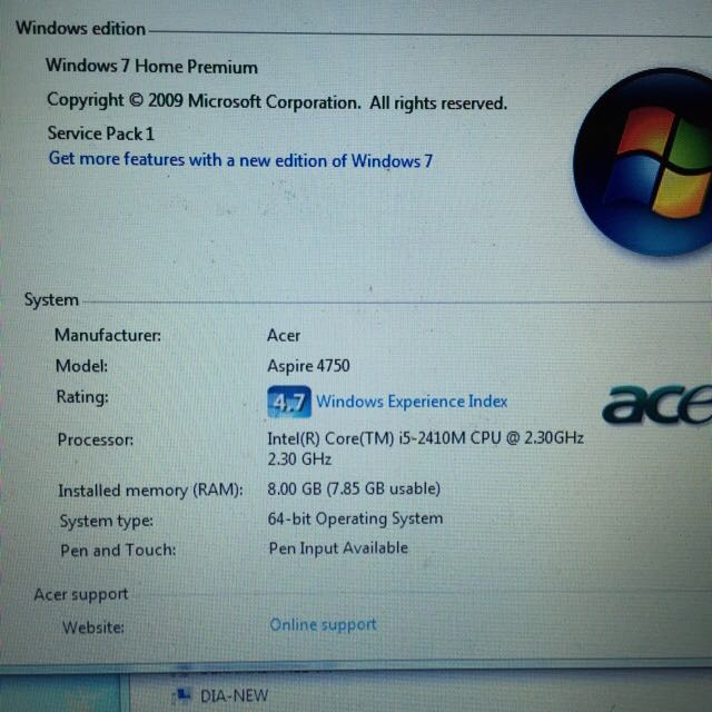 Acer Aspire 4750G, Electronics on Carousell
