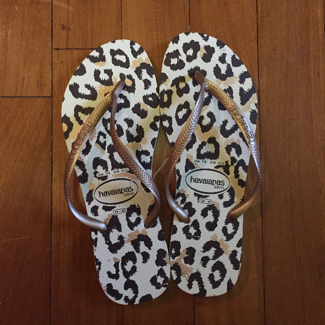 Brand new pair of Havaianas (Rose Gold Slim Animal)