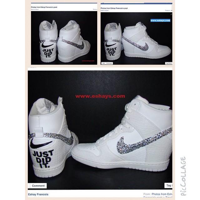 64fc3e25c22 Custom Bling Rhinestone White Croc Nike Dunk Sky Hi Wedge Sneaker ...