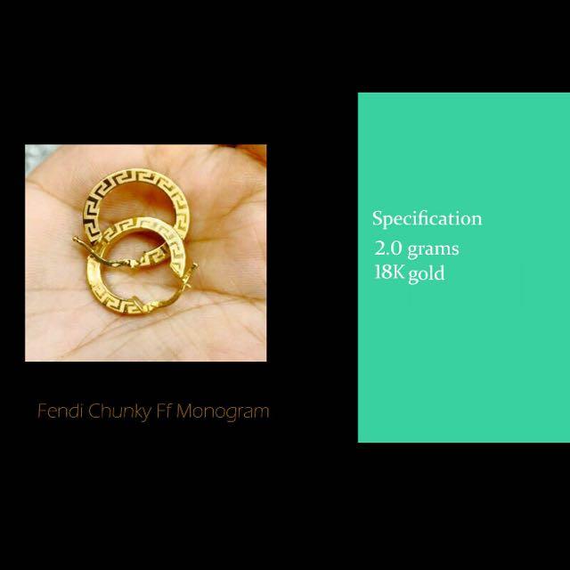 24787c51b Fendi inspired Monogram hoop Earrings - New And Pre Order Item!! 18k ...
