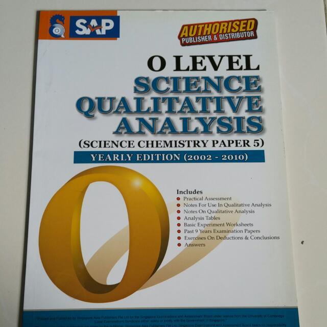 SAP O Level Science Chemistry Qualitative Analysis QA SPA