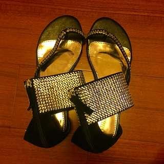 亮片羅馬涼鞋