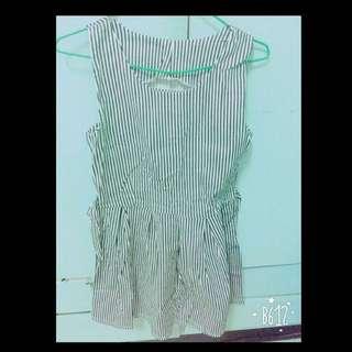 黑白條紋洋裝(有綁帶)