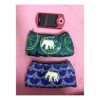 ✨泰國大象藍色綠色亮片小包