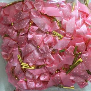 Pink Ribbon With Gold Wire