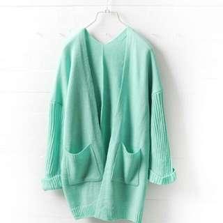 粉嫩綠色粗針織八分反折袖開衫外套