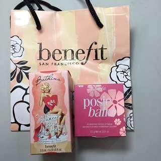 《全新》benefit 超級名模淡香隨身瓶及甜心菲菲潤色唇膏隨身瓶