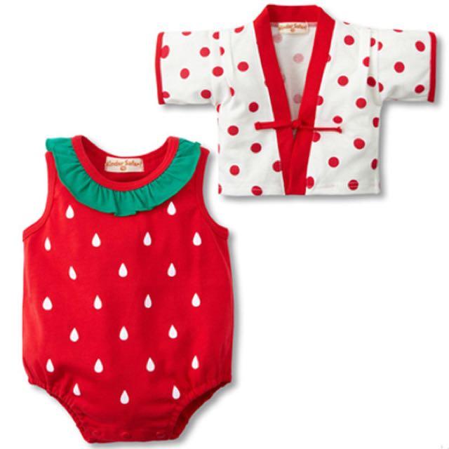 全新草莓兩件式包屁衣背心小外套