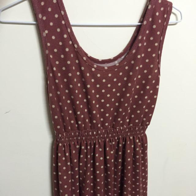 全新 彈性 暗紅黃點連身洋裝裙 腰部有鬆緊帶