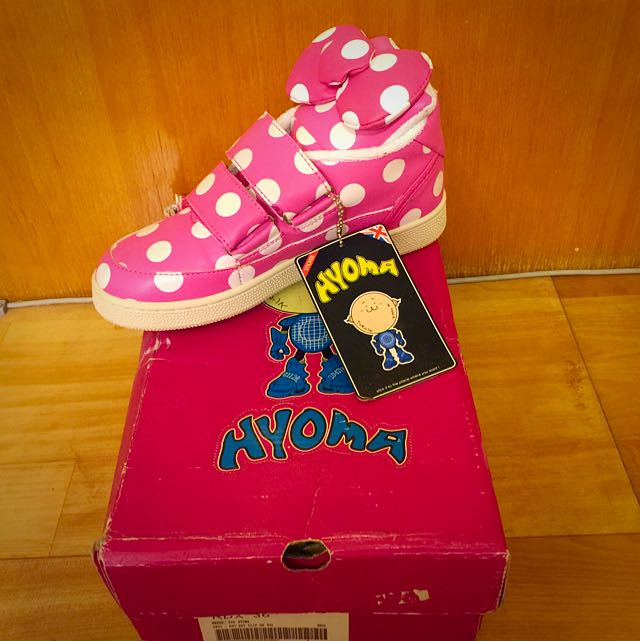 HYOMA 粉紅 圓點 韓版鞋 內絨毛