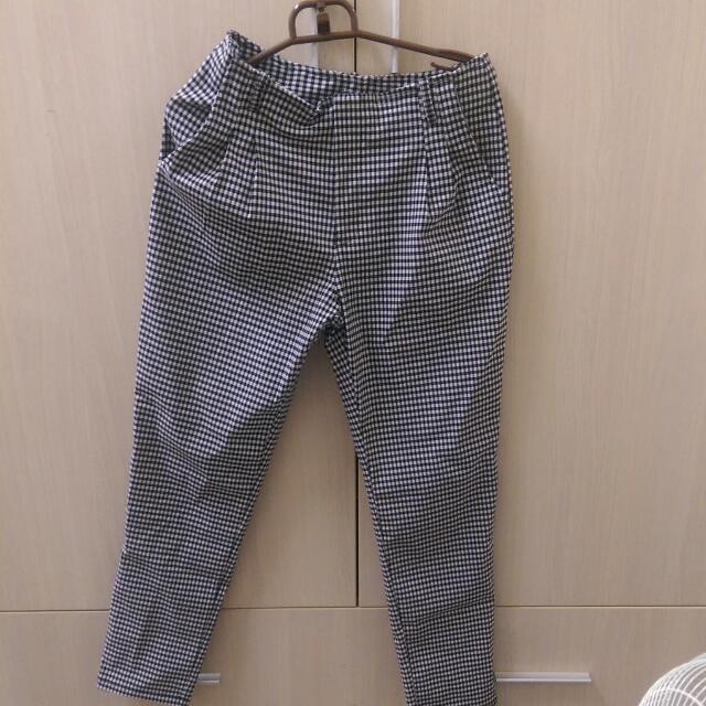 Pazzo黑白格紋長褲