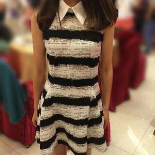 顯瘦黑白條紋洋裝(含運)