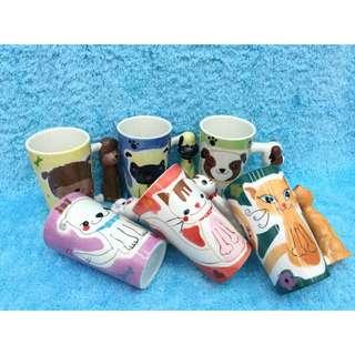 貓狗造型 馬克杯 收藏 擺飾 手繪杯 寵物