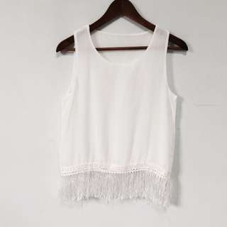 Fringe Top (White Grey Black)