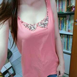 粉橘珠珠雪紡長版背心
