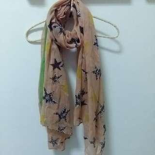 韓國雙色星星圍巾