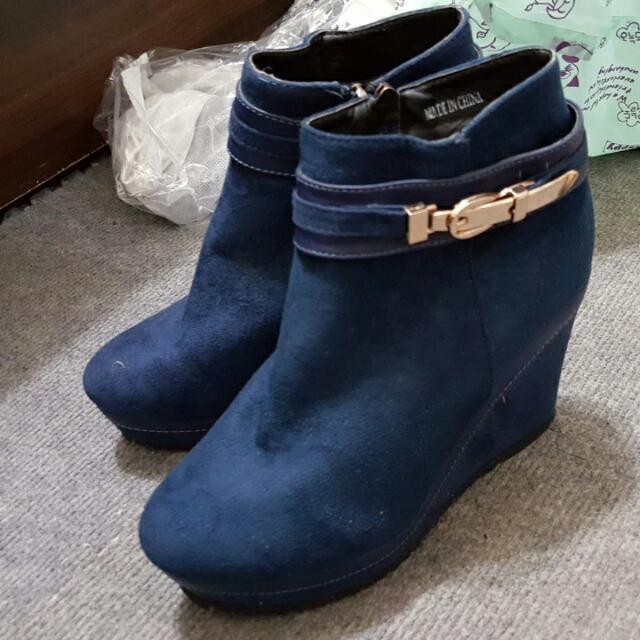 全新含運😘藍色麂皮短靴-24號