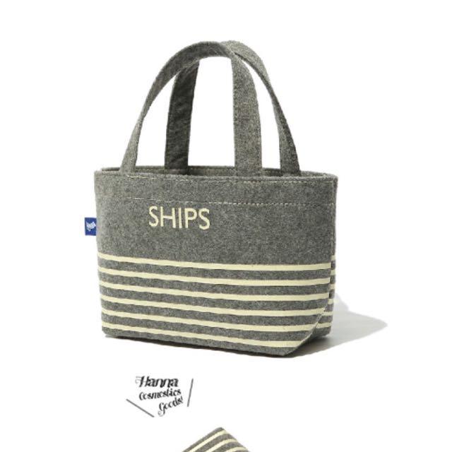 毛毡布橫紋海軍風灰色小手提包