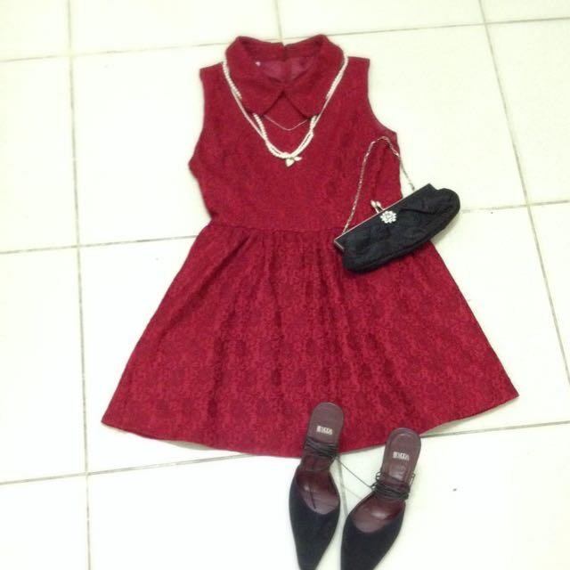 玫瑰紅優雅小香風澎裙洋裝