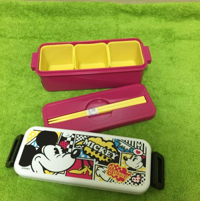 東京迪士尼 米奇餐盒 附筷子 全新