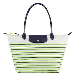 Longchamp Large Long Handle LLH Mariniere Green Stripes