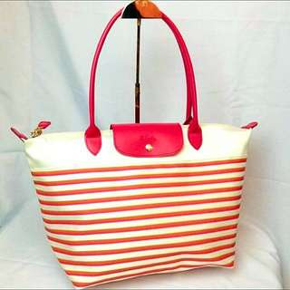 Longchamp Mariniere Large Long Handle LLH Pink Stripe