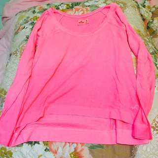 (新品出售) 美國Hollister 螢光粉長袖上衣