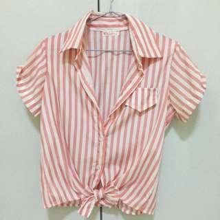 條紋短版罩衫外套