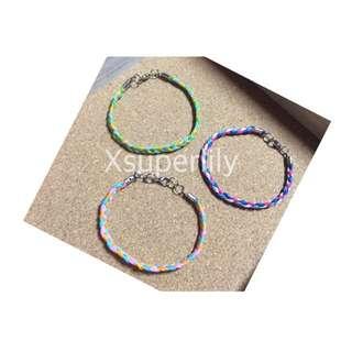 Xsuperlily手作三色防水蠟繩編織手鍊